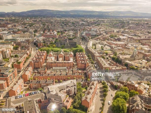 Aerial view of Dublin city centre, Ireland.