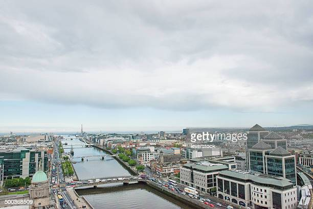 aerial view of Dublin City Centre traffic