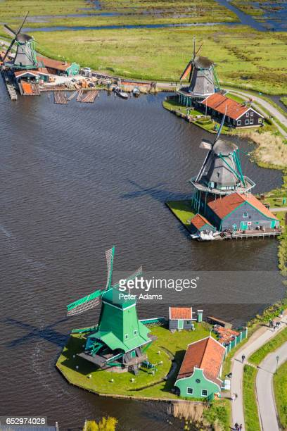 Aerial view of Dutch windmills in North Holland, Netherlands