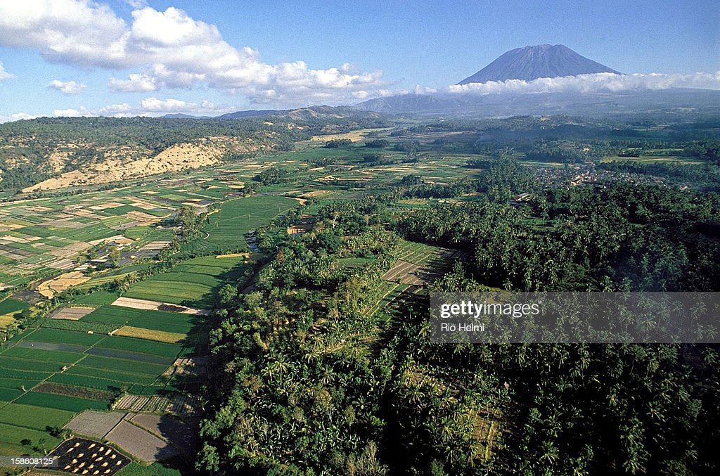 Aerial view of east Bali going up Mt Agung..