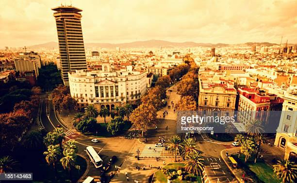 Vista aérea de un paisaje de la ciudad y el este de la rambla de Barcelona