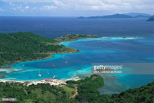 Aerial view of East End Harbour Jost Van Dyke British Virgin Islands British Overseas Territory United Kingdom