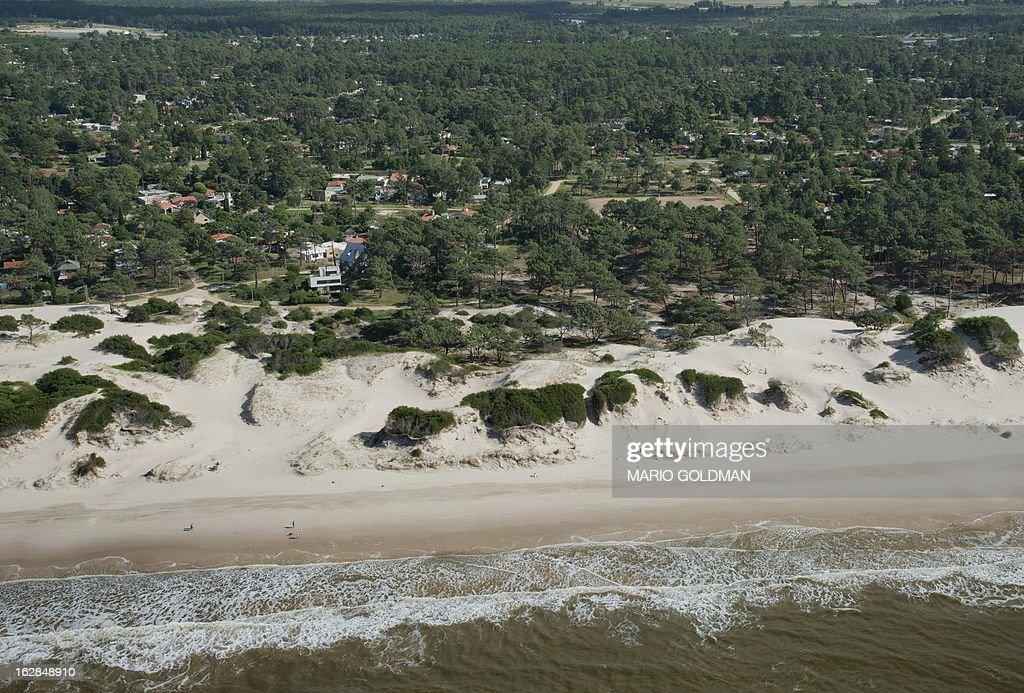 Aerial view of El Pinar, east of Montevideo, Uruguay, taken on February 27, 2013. AFP PHOTO/Mario Goldman
