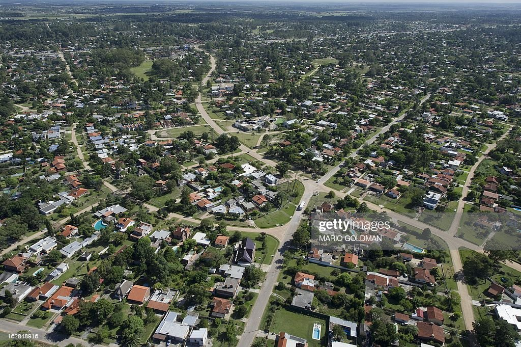 Aerial view of El Pinar, east of Montevideo, Uruguay, taken on February 27, 2013. AFP PHOTO/Mario Goldman