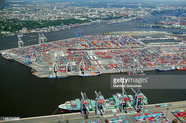 Aerial view of Elbe River and container facilities at Waltershof, Hamburg Harbour.
