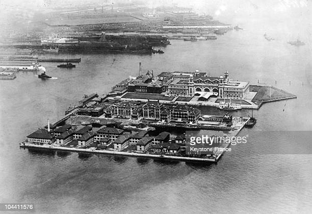 Aerial view of Ellis Island in New York around 19301940 From 1892 to 1954 Ellis Island served as an immigration center It is estimated that around 12...