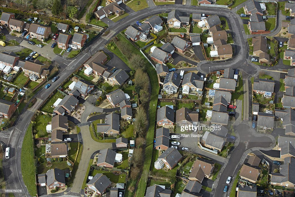 Aerial view of English suburb : Stock Photo