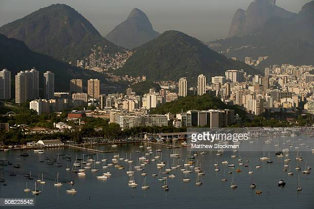Aerial view of Enseada de Botafogo on February2 2016 in Rio de Janeiro Brazil