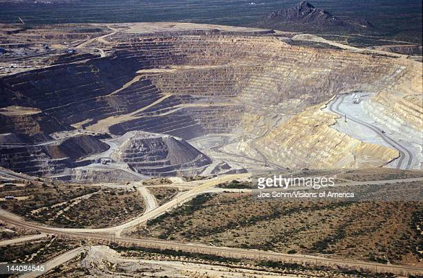 Aerial view of environmental damage caused by copper mining in Tucson AZ