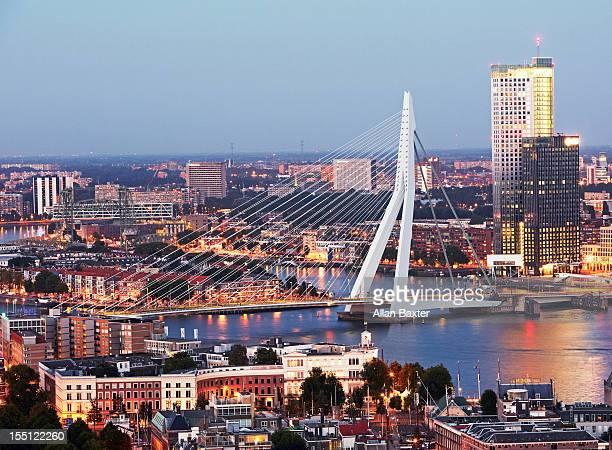 Aerial view of Erasmusbrug (Erasmus bridge)