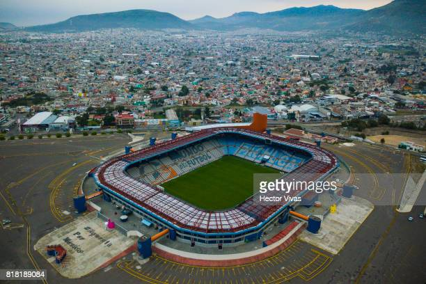 Aerial view of Estadio Hidalgo at Hidalgo Stadium on July 18 2017 in Pachuca Mexico