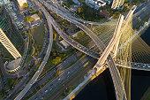 Aerial View of Estaiada Bridge in Sao Paulo, Brazil