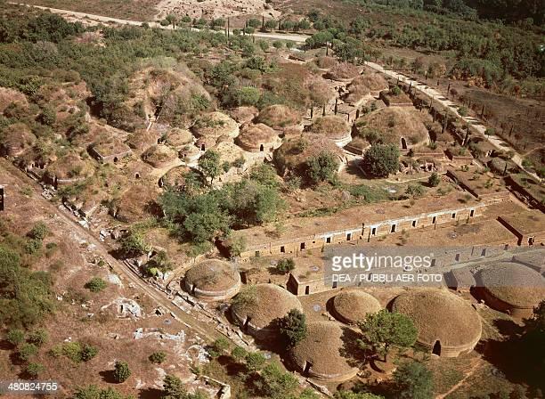 Aerial view of Etruscan necropolis at Cerveteri province of Rome Lazio region Italy