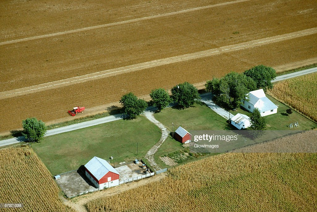 Aerial view of farms at harvest time in Clinton county, OH : Stock Photo
