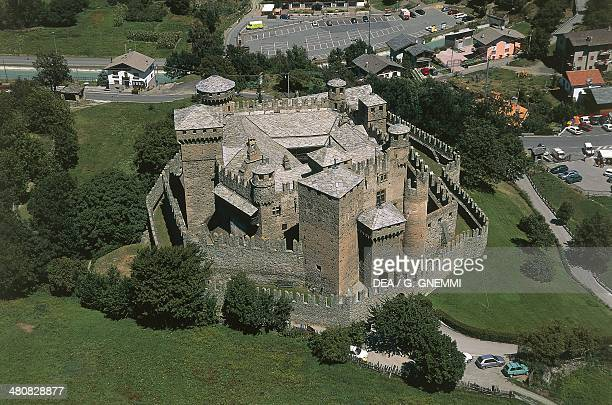 Aerial view of Fenis Castle in the Valley of Clavalite' Fenis Province of Aosta Valle d'Aosta Region Italy
