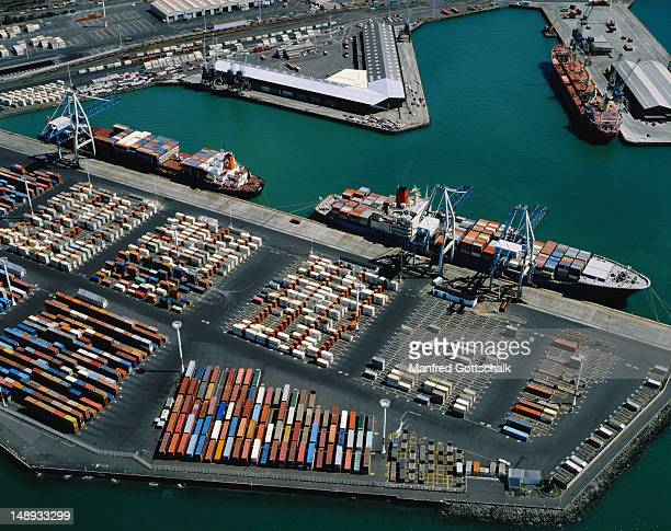 Aerial view of Fergusson Container Wharf at Auckland Harbour.