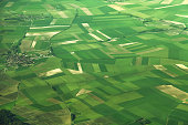 Aerial view of fields in France
