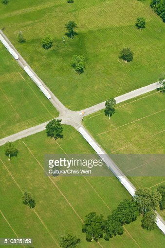 Aerial view of fields, Indiana, USA