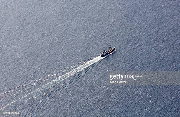 Aerial view of fishing boat