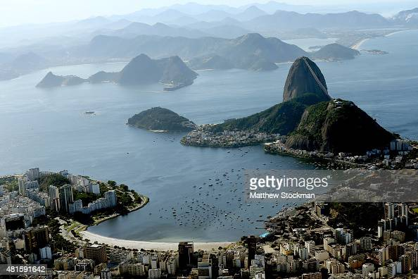 Aerial view of Flamengo Beach the Sugar Loaf and Guanabara Bay with nearly one year to go to the Rio 2016 Olympic Games on July 21 2015 in Rio de...