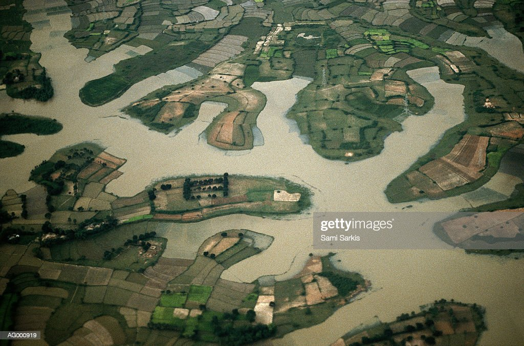 Aerial view of flooded fields during the rainy season in Dacca surrounding, Bangladesh