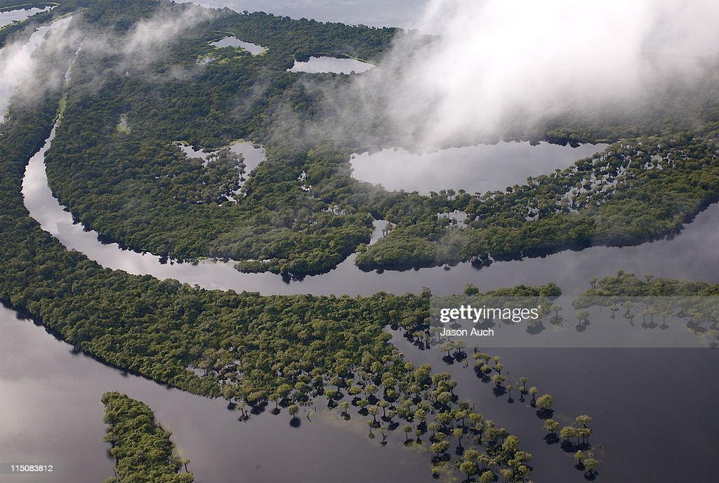 Aerial view of flooded Rio Negro river