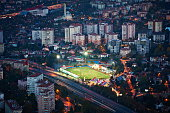 Aerial view of football field in Istanbul