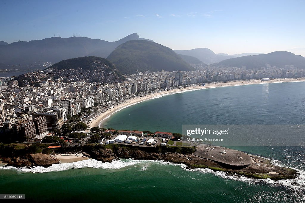 Aerial view of Fort Copacabana and Copacabana Beach site of the Marathon Swm and Triathlon in preparation for the 2016 Olympic Games on July 4 2016...