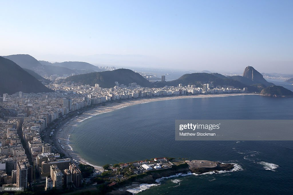 Aerial view of Fort Copacabana at Copacabana Beach with with one year to go to the Rio 2016 Olympic Games on August 5 2015 in Rio de Janeiro Brazil...