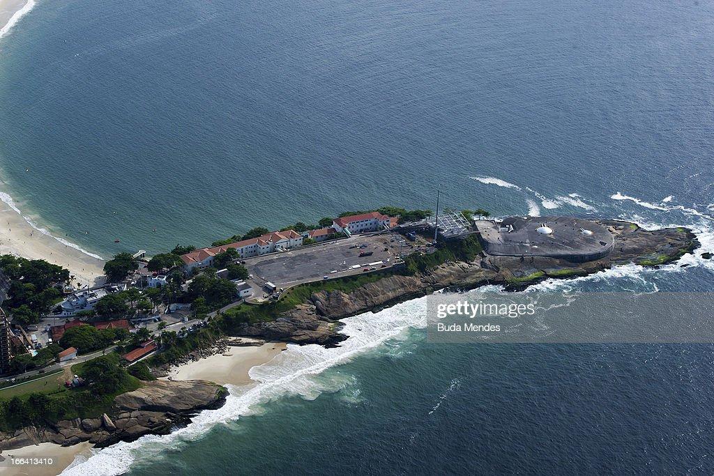 Aerial view of Forte de Copacabana on April 11, 2013 in Rio de Janeiro, Brazil.