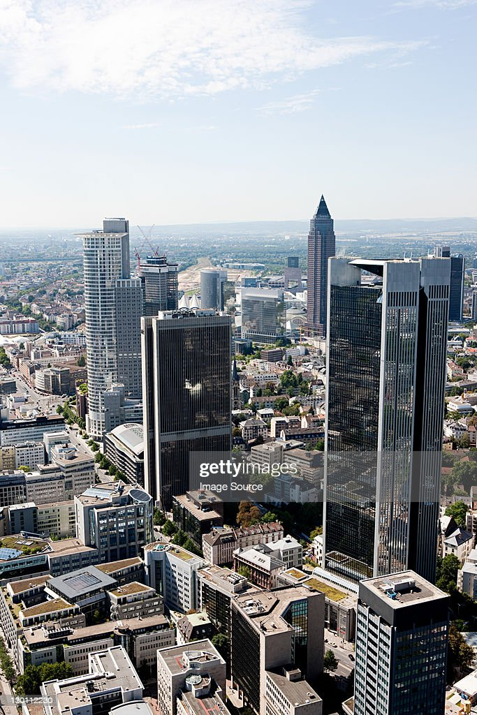 Aerial view of Frankfurt business district, Germany : Stock Photo