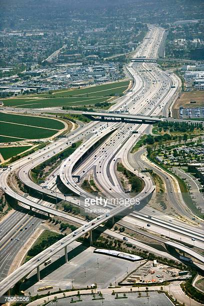 Aerial view of freeway in Irvine, California