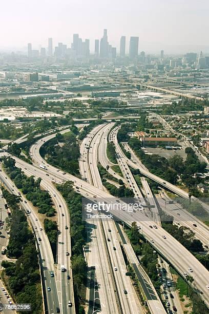 Aerial view of freeways in Los Angeles, California