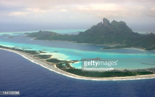 Aerial view of French Polynesia, Bora Bora Island