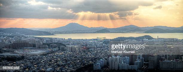 Aerial view of Fukuoka at sunset