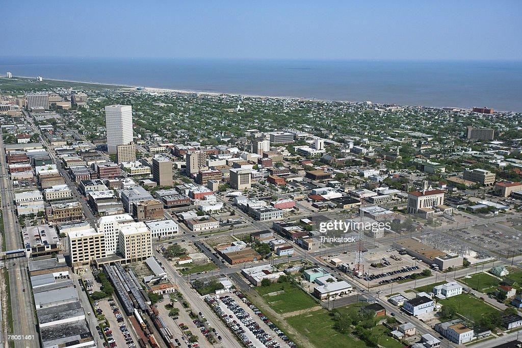Aerial view of Galveston, Texas : Stock Photo