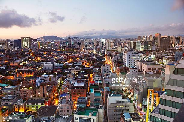 Aerial view of Gangnam district of Seoul at dusk
