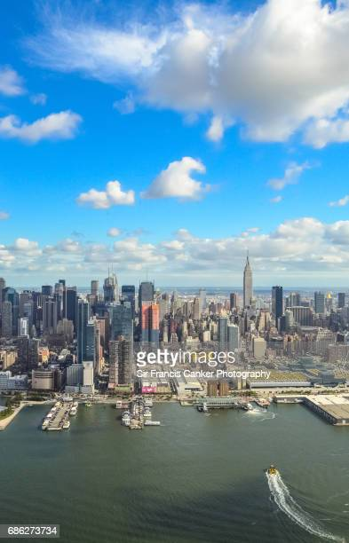 Aerial view of Garment district, Midtown Manhattan and Hudson river in New York City, USA