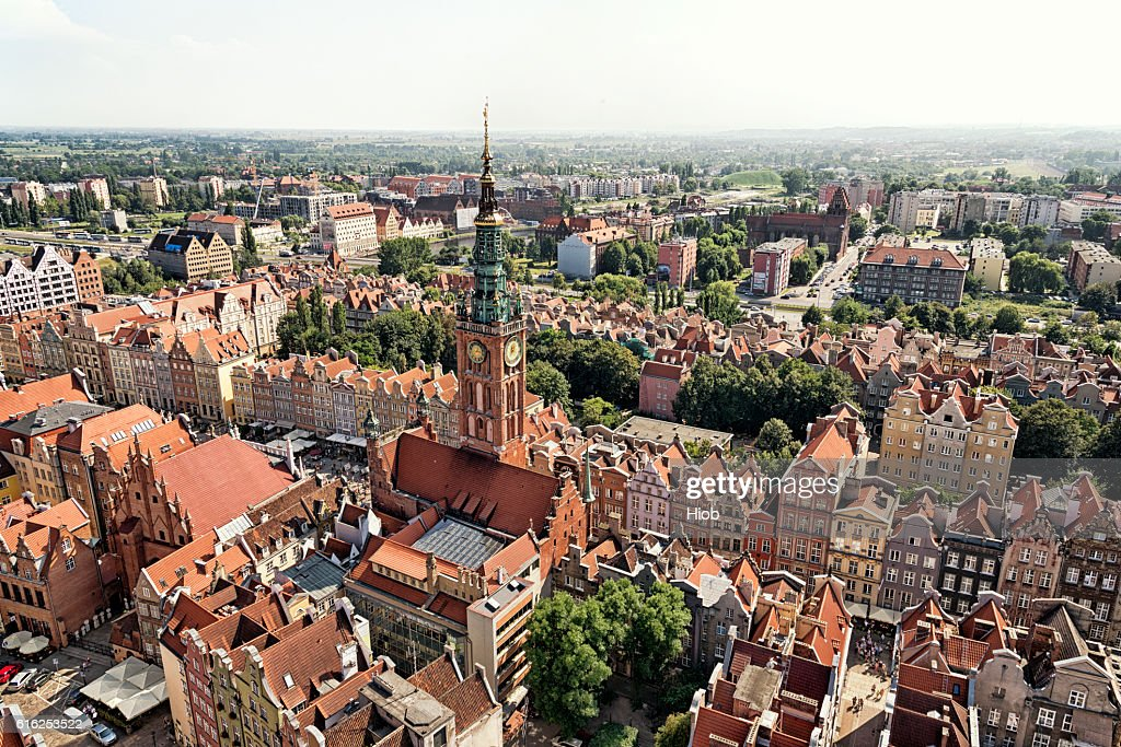 Aerial view of Gdańsk : Foto de stock