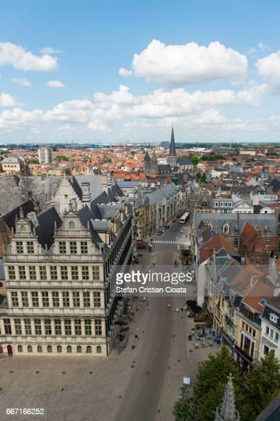Aerial view of Ghent (Gent) Belgium