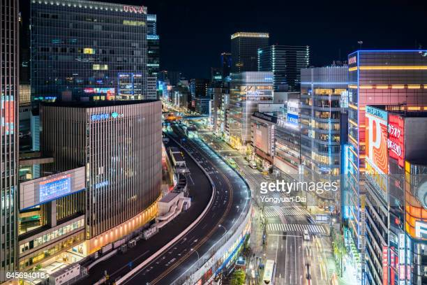 Aerial View of Ginza at Night