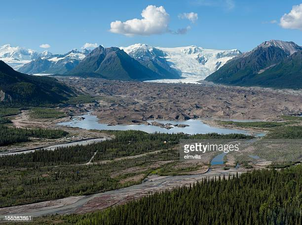 Aerial view of glacial scenery in Alaska