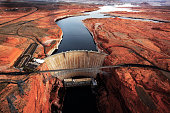 Aerial View of Glen Canyon Dam and surroundings Paige Arizona