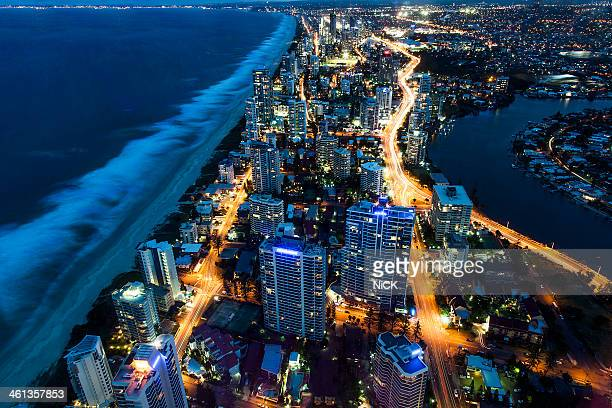 Aerial view of Gold Coast at Night, Australia