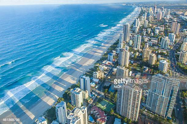 Aerial view of Gold Coast at sunset, Australia