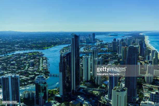 Aerial view of Gold Coast, Australia, looking northward from Surfers Paradise