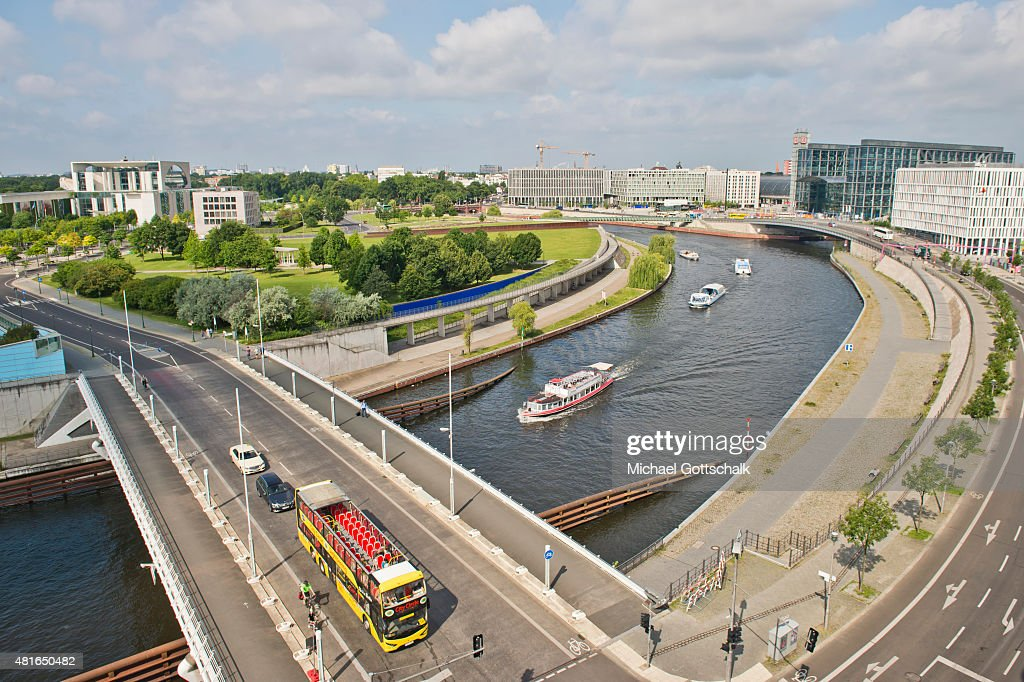 Aerial view of government quarter with chancellery main station or Hauptbahnhof and river spree on July 21 2015 in Berlin Germany