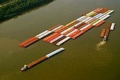 Aerial view of grain barges on the river, Mississippi River, New Orleans, Louisiana, USA