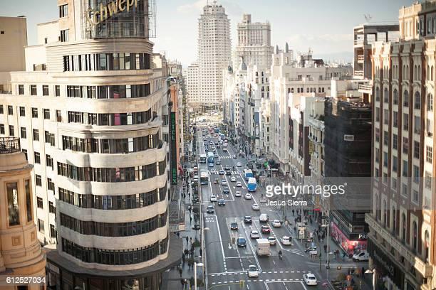 Aerial view of Gran Vía, Madrid, Spain.
