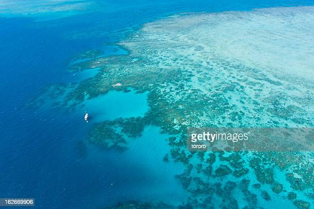 Aerial view of Great Barrier Reef from helicopter